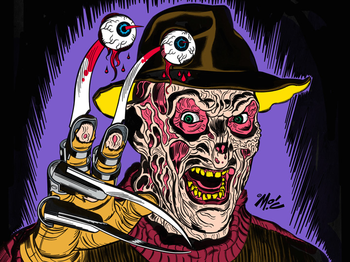 illustrated Freddy Kreuger with eyeballs on his claw fingers