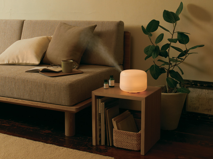 aroma diffuser on a living room side table
