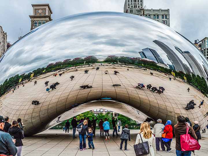 large, bean-shaped, reflective metallic sculpture (Cloud Gate, also known as The Bean)
