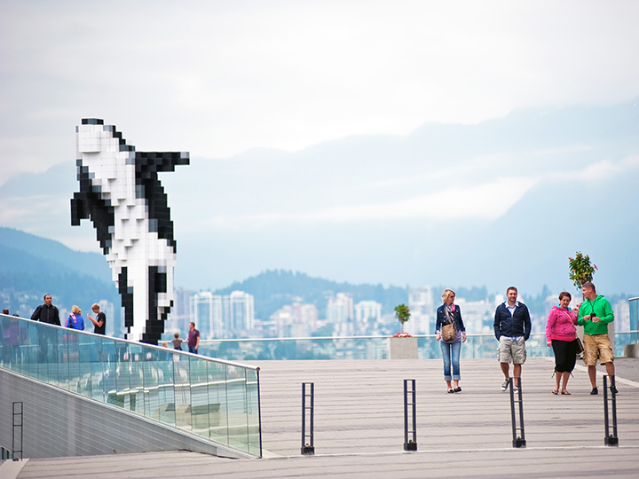 pixelated orca statue