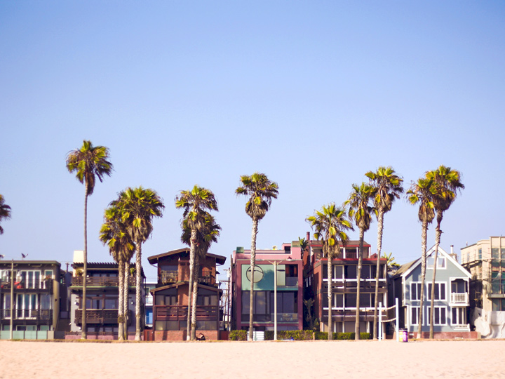 a row of modern homes on a beach with palm trees