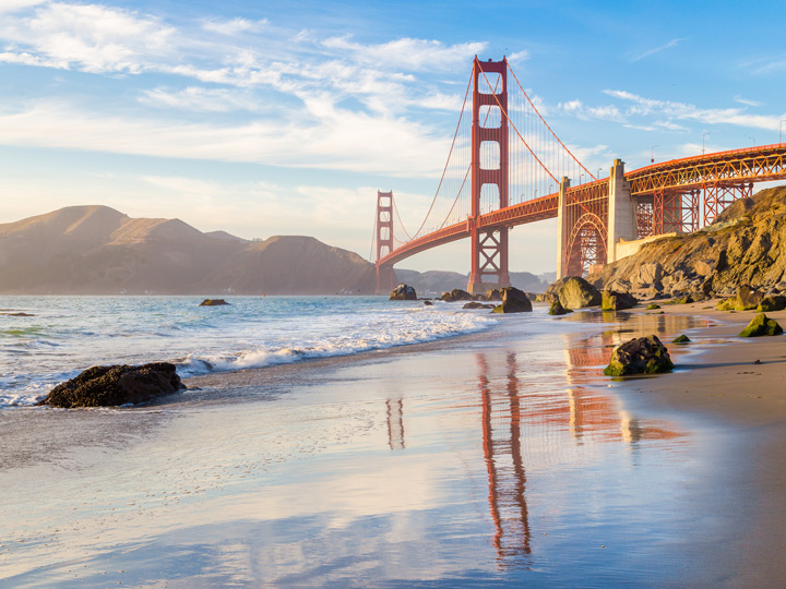 a shoreline alongside the Golden Gate Bridge in San Francisco