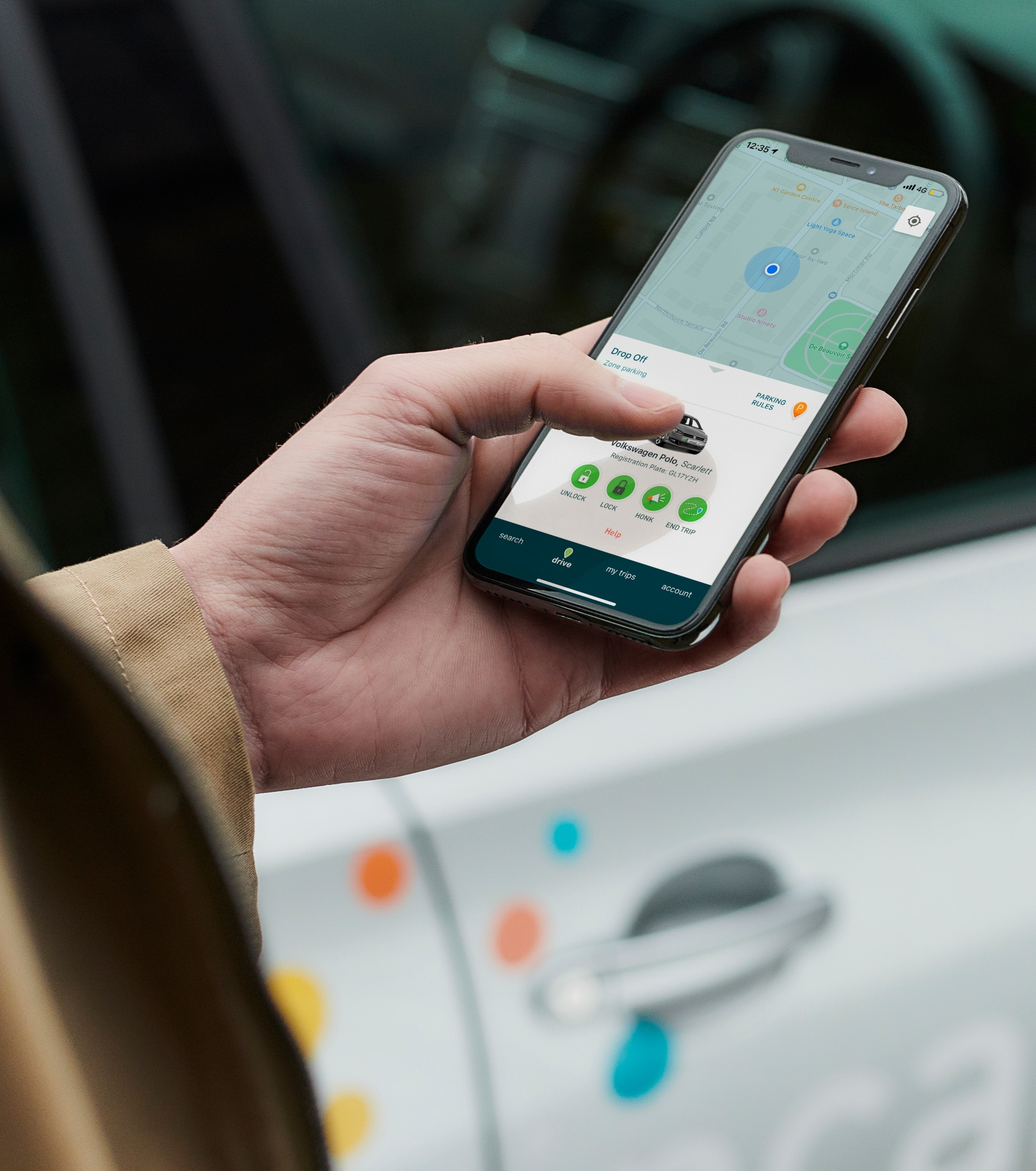 zipcar app in use