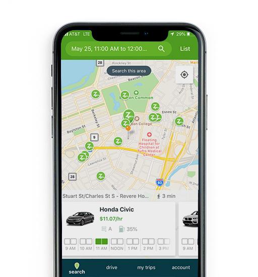 Searching for Zipcar screenshot