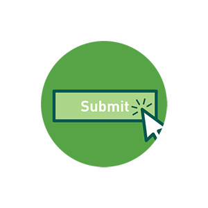 arrow clicking submit button icon