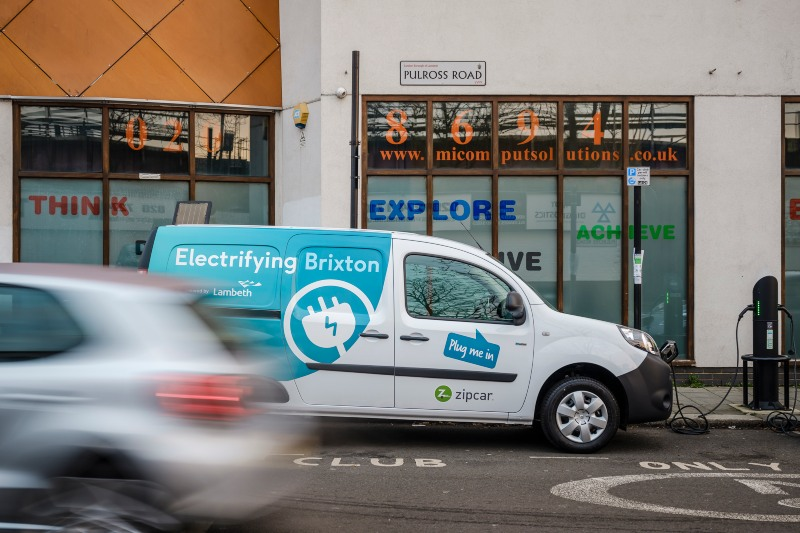 Electric Zipcar van in Brixton