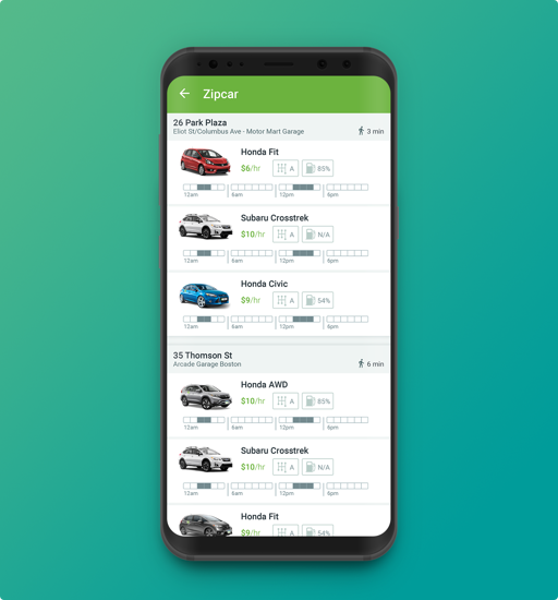 android phone with zipcar app listings on the screen