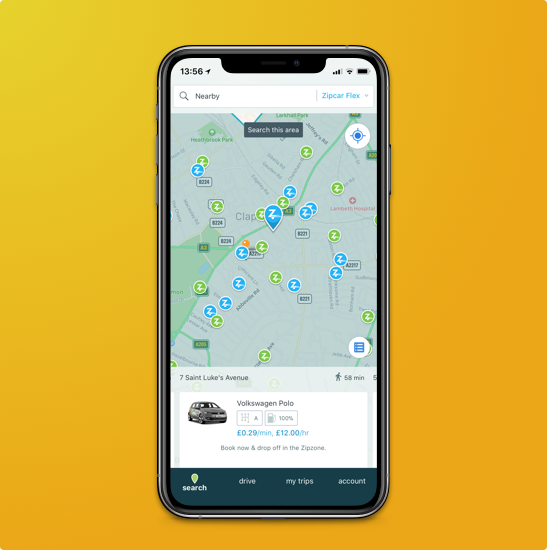 ios phone with zipcar app showing a map