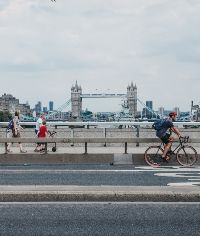 cycling across london bridge