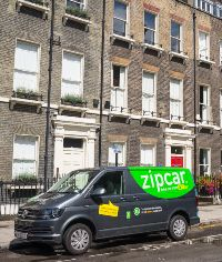 Zipcar van parked outside