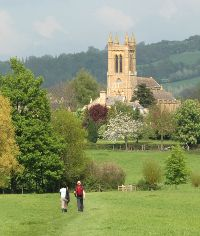 couple walking towards a church