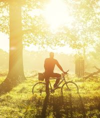man cycling through a forest