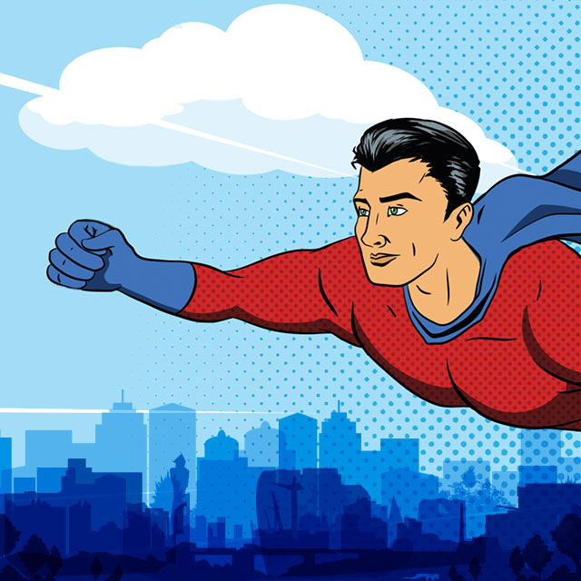 superhero flying over a city