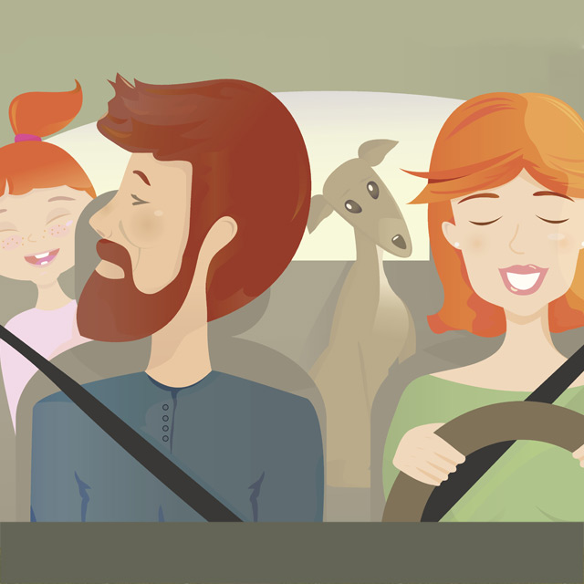 illustration of family in a car