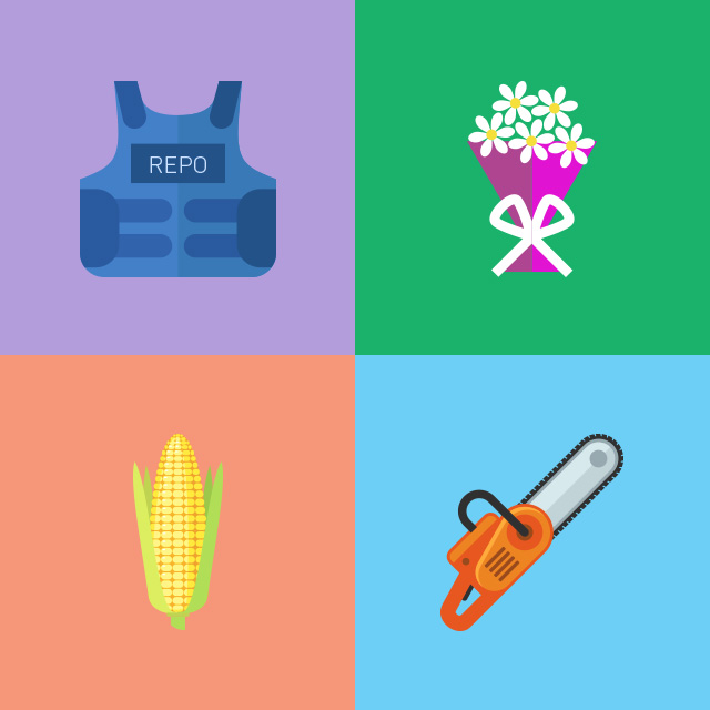 four icons: repo vest, flower bouquet, ear of corn, chainsaw