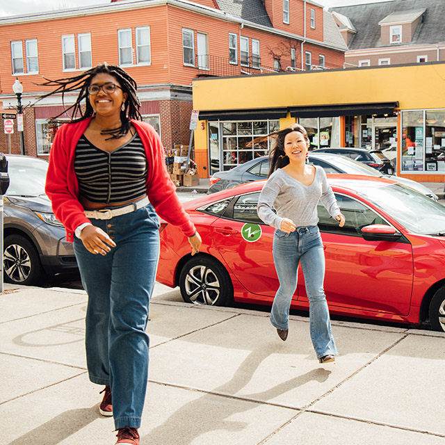 Girls visiting a cool small town in America with Zipcar