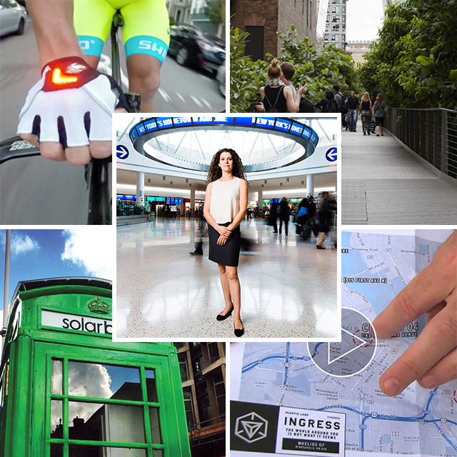 Collage of person standing in lobby, person biking, cityscape, blueprint