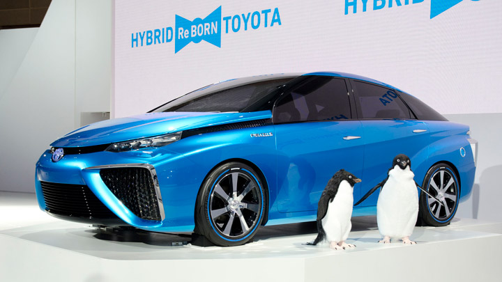 The 2016 Toyota Mirai Fuel Cell Vehicle. It emits only water vapor rather than carbon. The penguins dig that. Image courtesy of Wikipedia, Toyota Mirai.