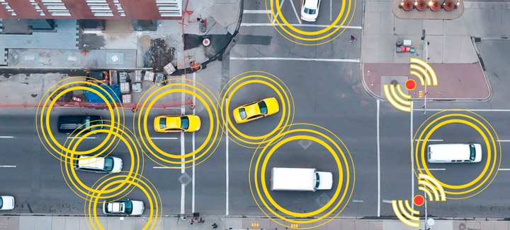 Connected cars that communicate with each other could mean the end of the traffic jam. Image courtesy of HPE Matter.