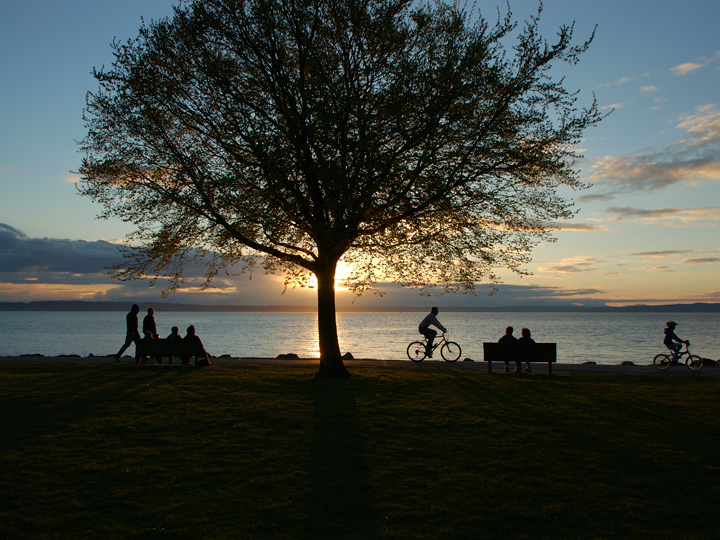 view of bicyclists along a path with sun setting in background