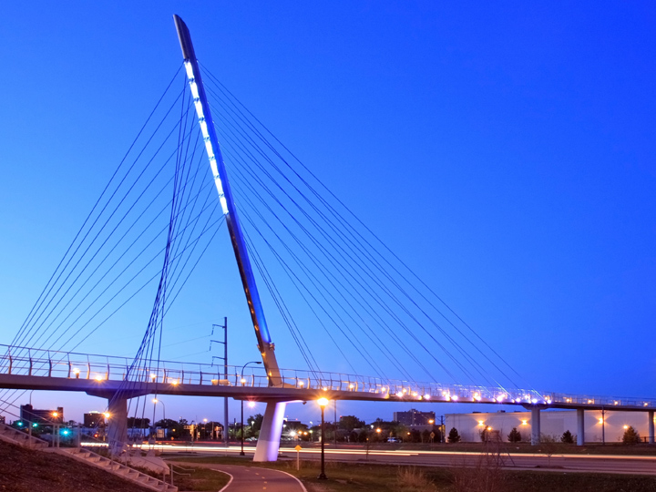 view of Martin Olav Sabo bridge at night