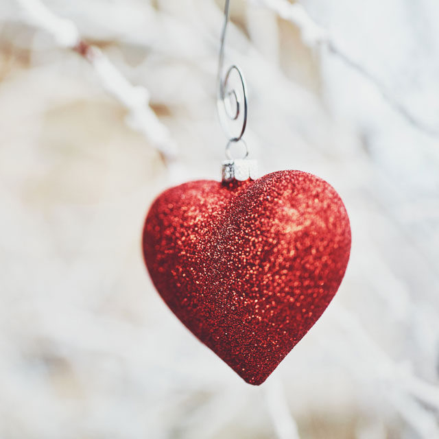 Glittery heart ornament