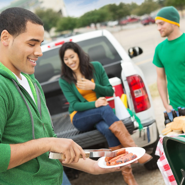 Three people tailgating