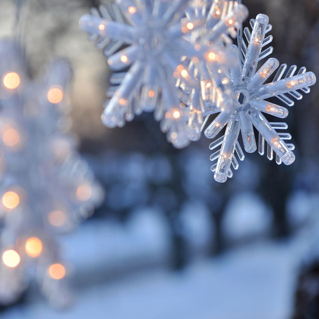 Close up of snowflake Christmas ornaments outdoors