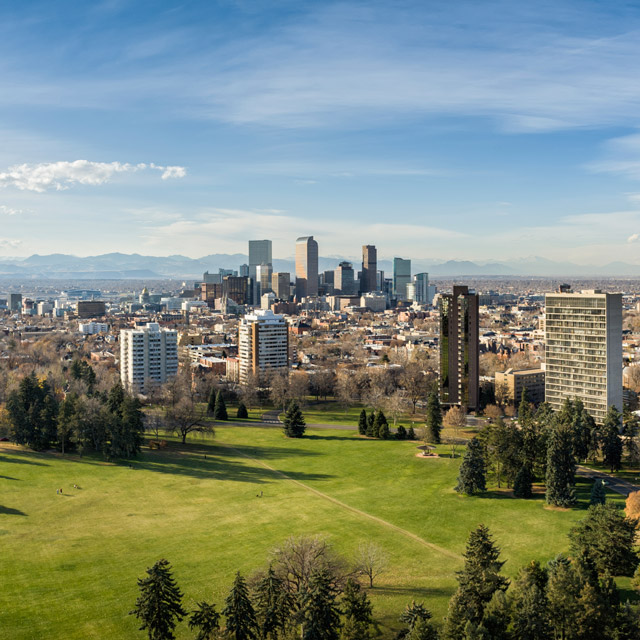 photo of green grass and trees in the foreground, downtown Denver in the background