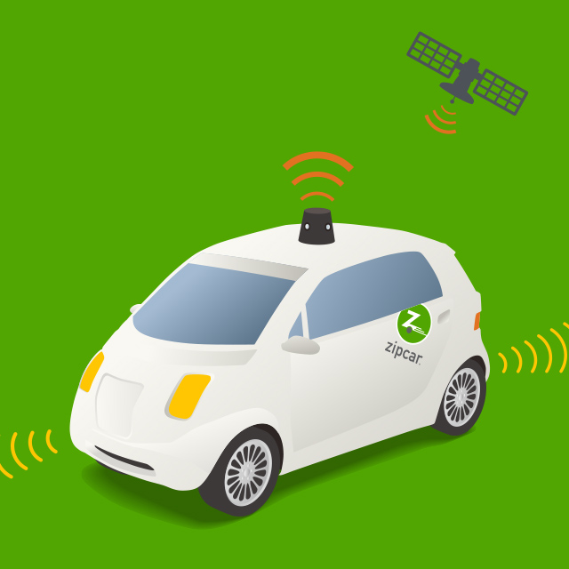 graphic of an self driving Zipcar