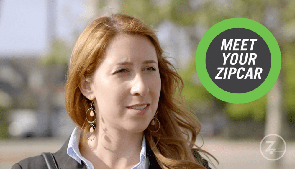 headshot of woman in suit, Meet Your Zipcar text overlaying it