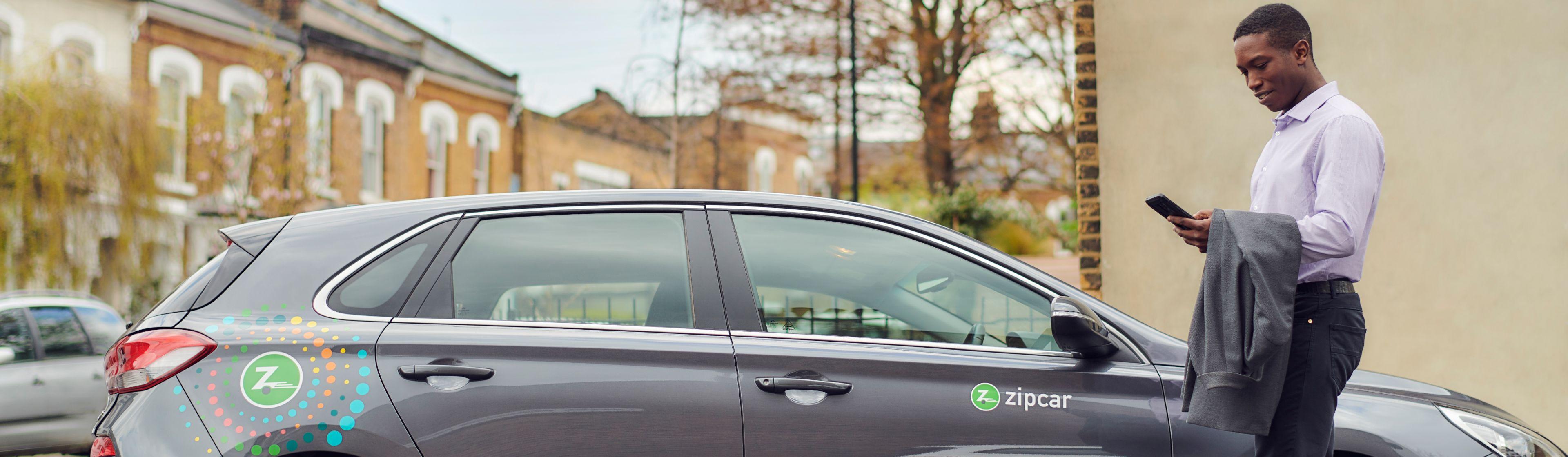 man booking a zipcar