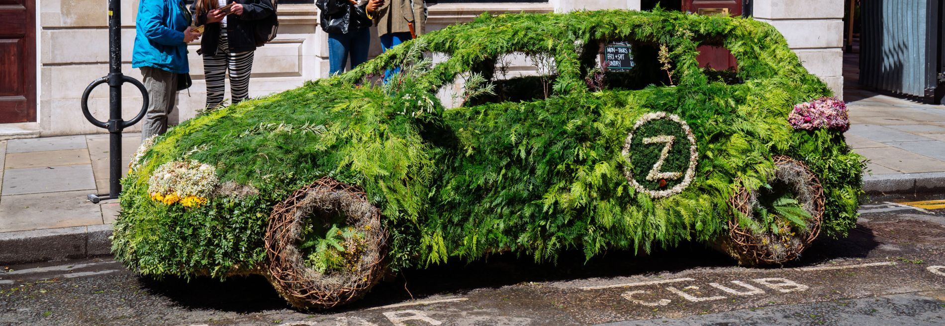 zipcar living car in spitalfields with onlookers