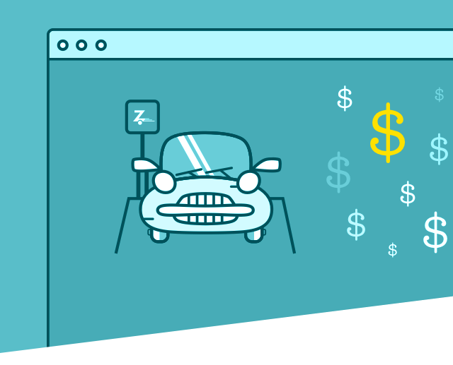 generic web browser with car icon and dollar signs in it