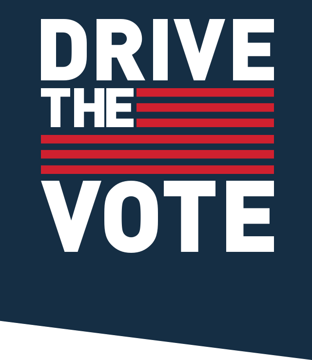 Drive the vote text with American flag