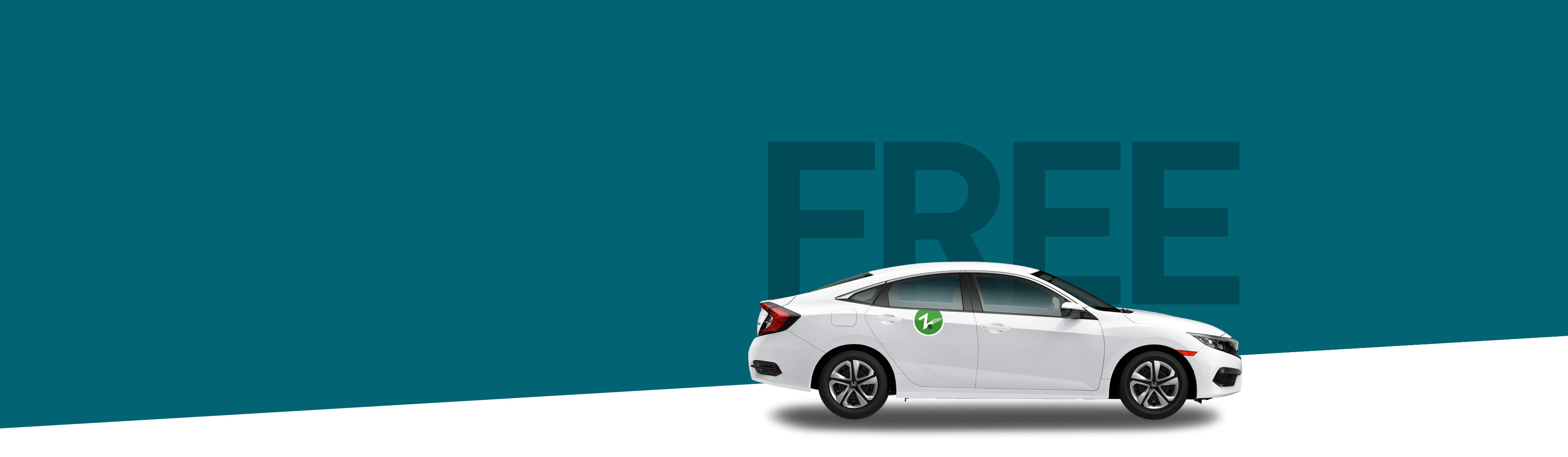 white Zipcar on dark colored background with the word Free