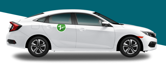 white Zipcar on dark colored background