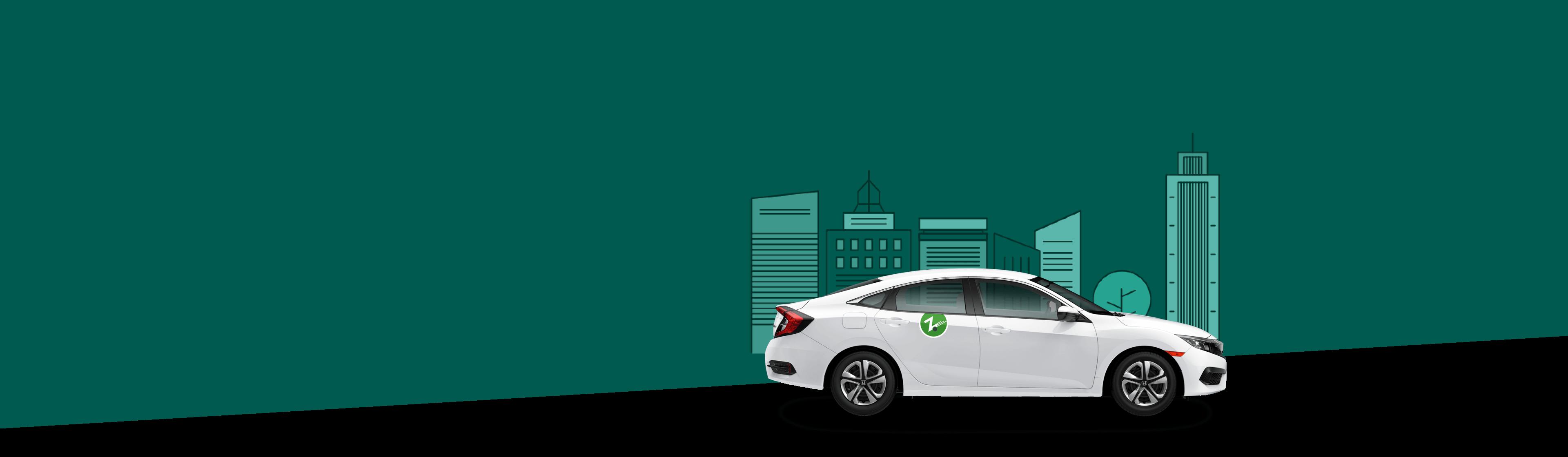 white Zipcar on dark green background