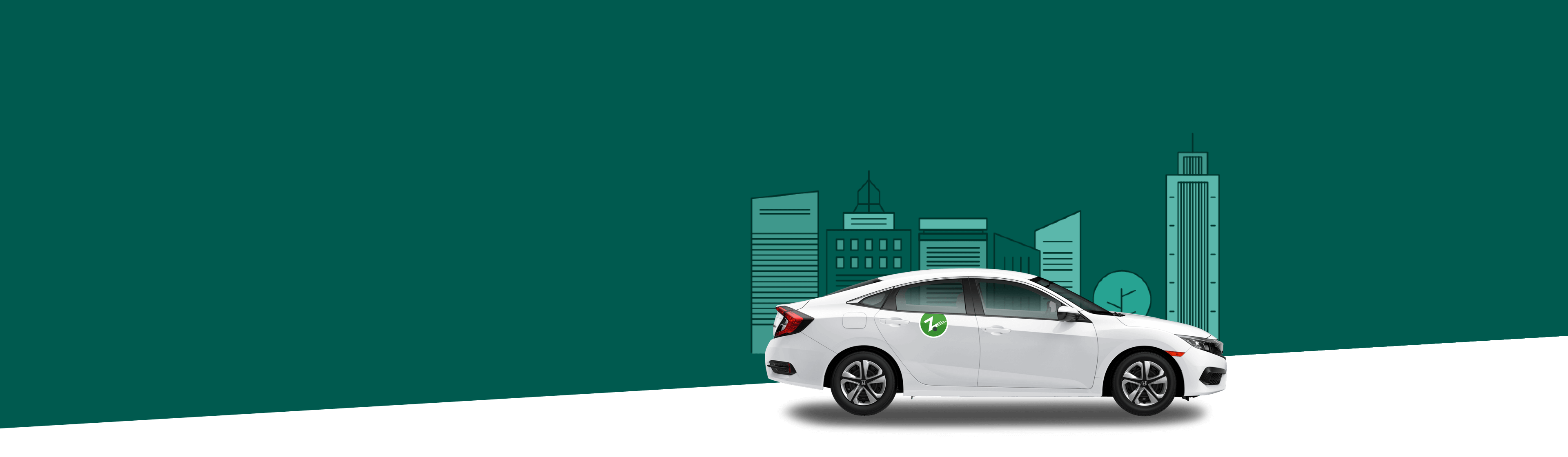 white Zipcar on dark green background