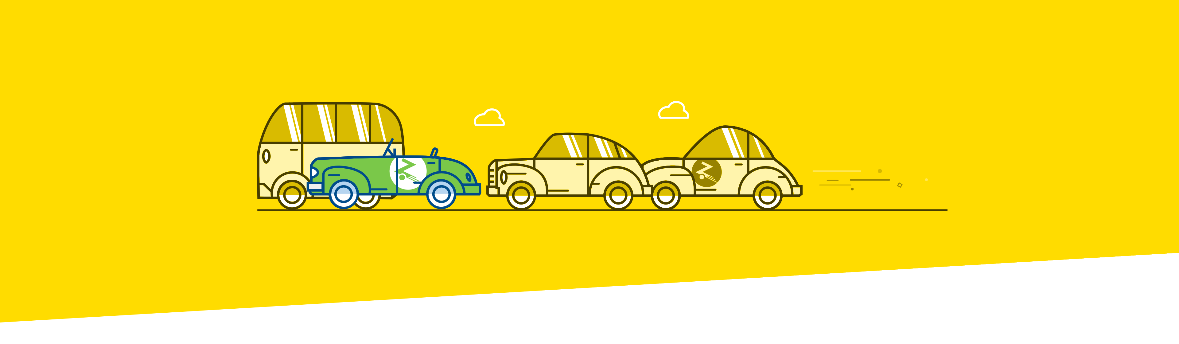 Yellow background with cartoon cars driving across