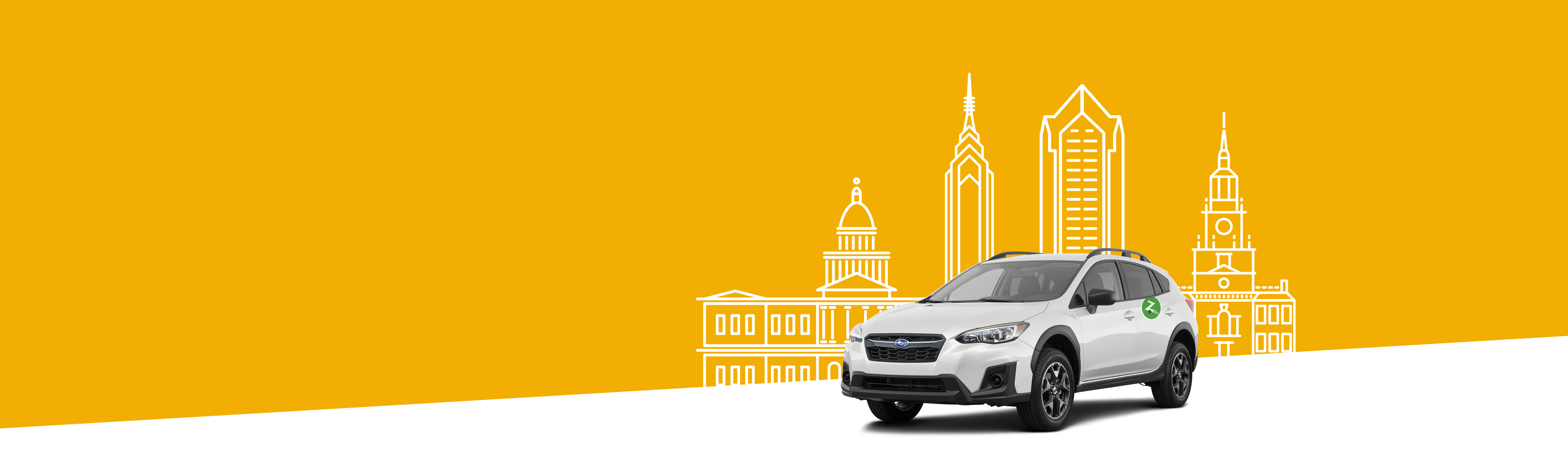 Illustrated cityscape with orange background and silver car in the front