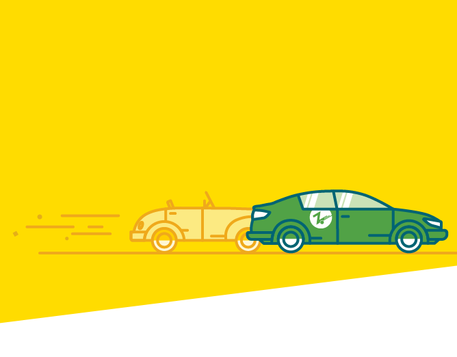 yellow with green car mobile