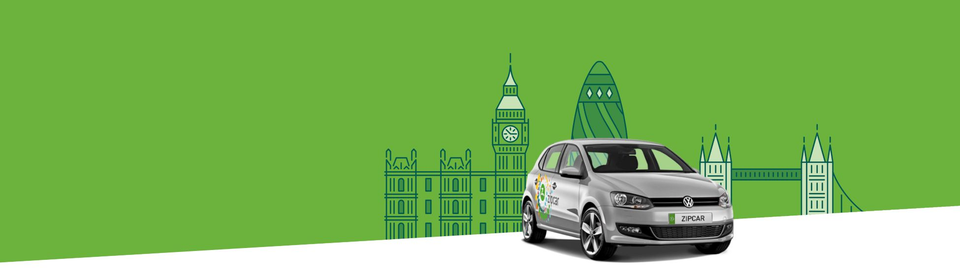 Silver zipcar flex on an animated cityscape