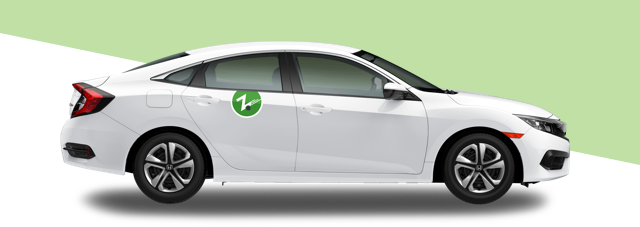 Zipcar on a light green background