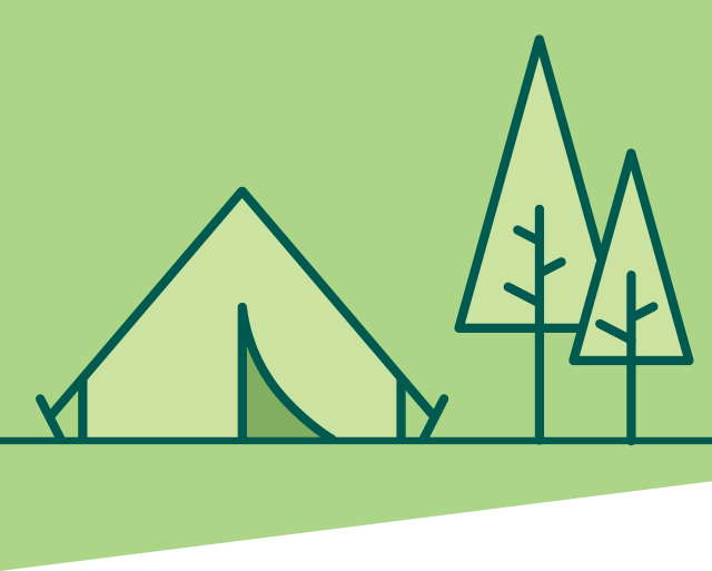 illustrated scene with tent and mountains