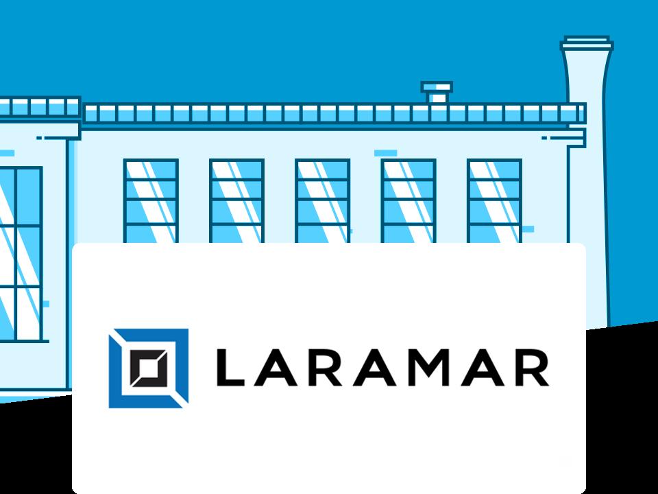 Laramar Group logo and a building