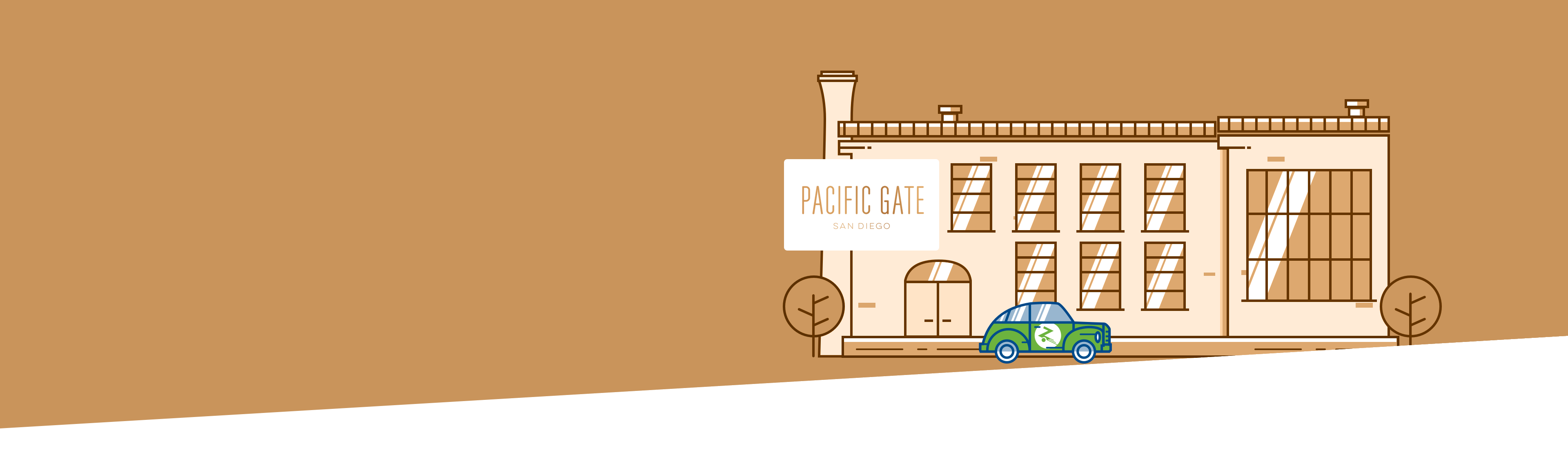 Building and Pacific Gate logo