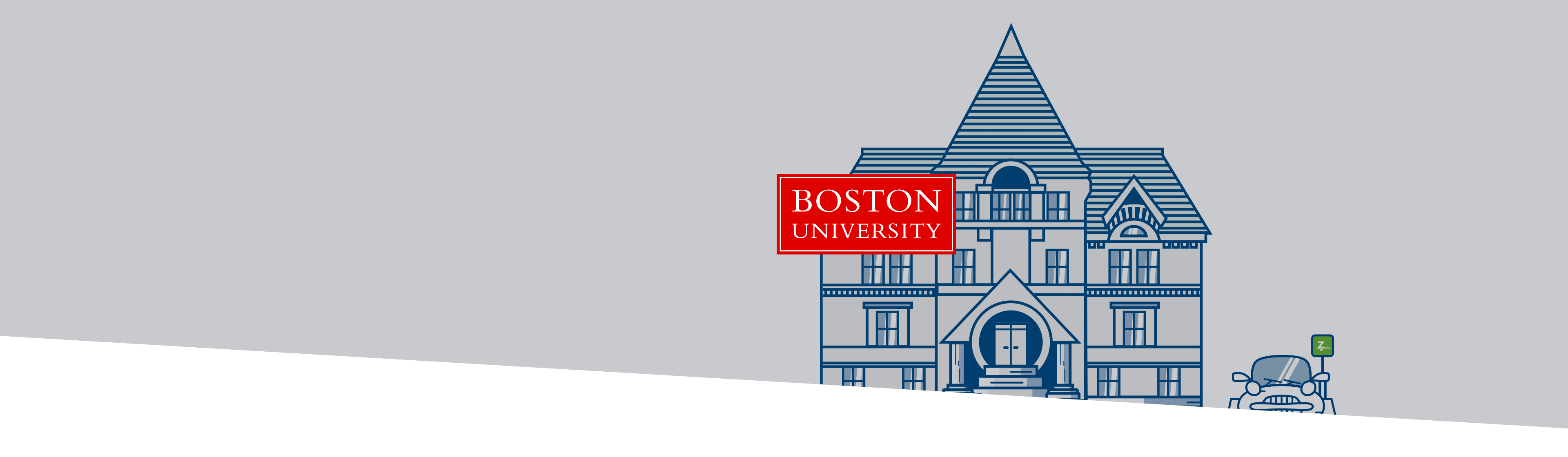 Boston University building and logo