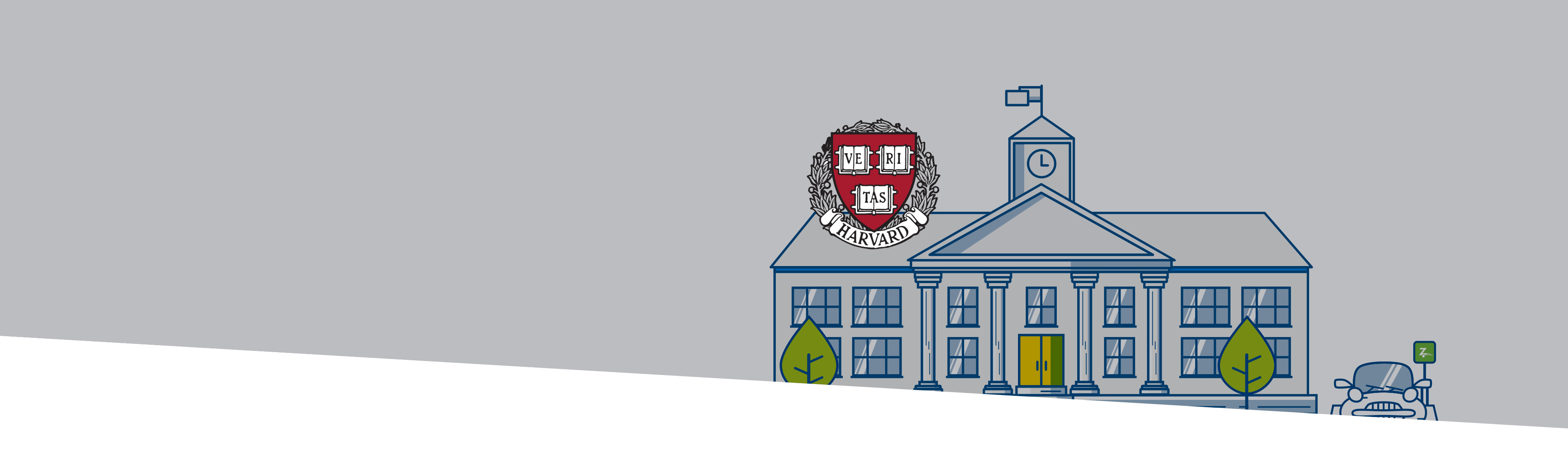 Harvard University campus buildings and logo