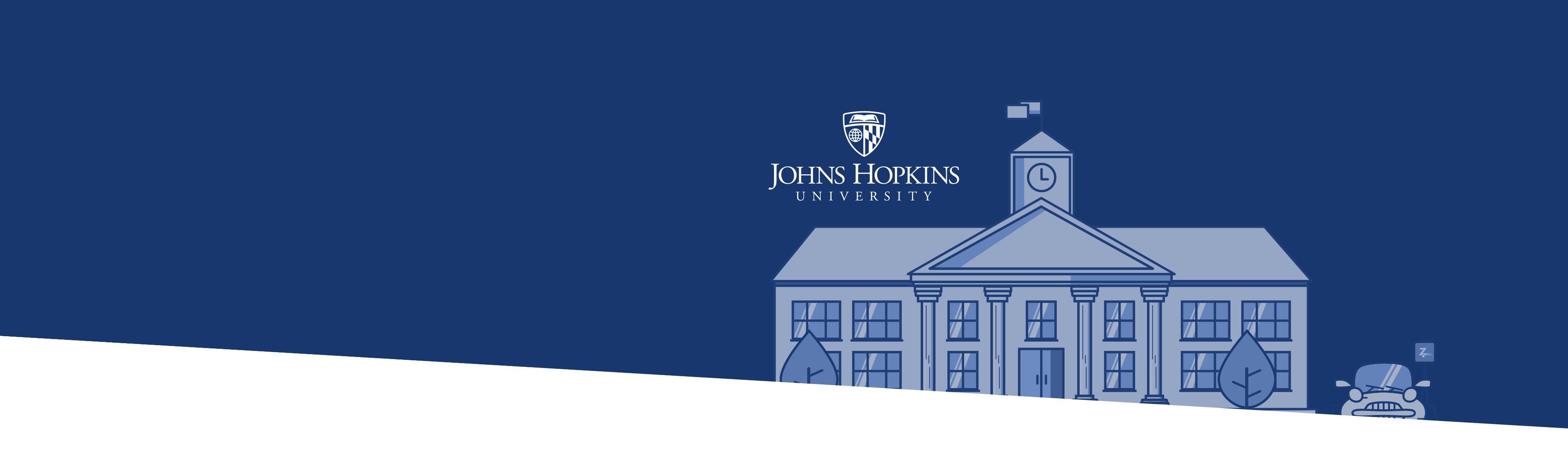 John Hopkins University campus buildings and logo